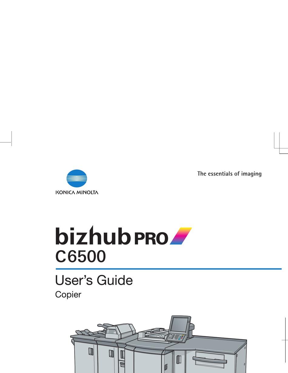 Konica Minolta Bizhub Pro C6500 User Manual Pdf Download Manualslib