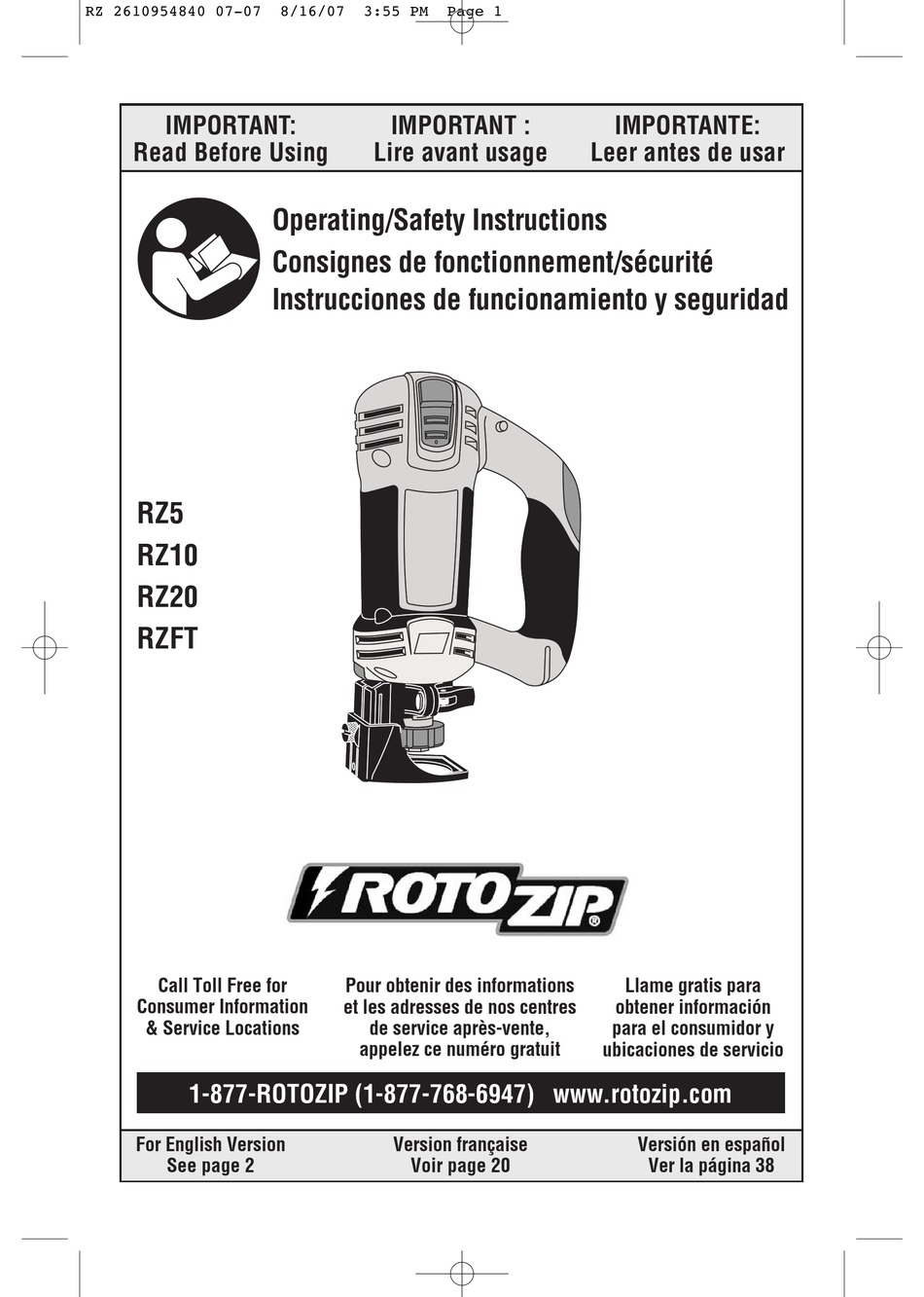 ROTOZIP RZ5 OPERATING AND SAFETY INSTRUCTIONS MANUAL Pdf ...
