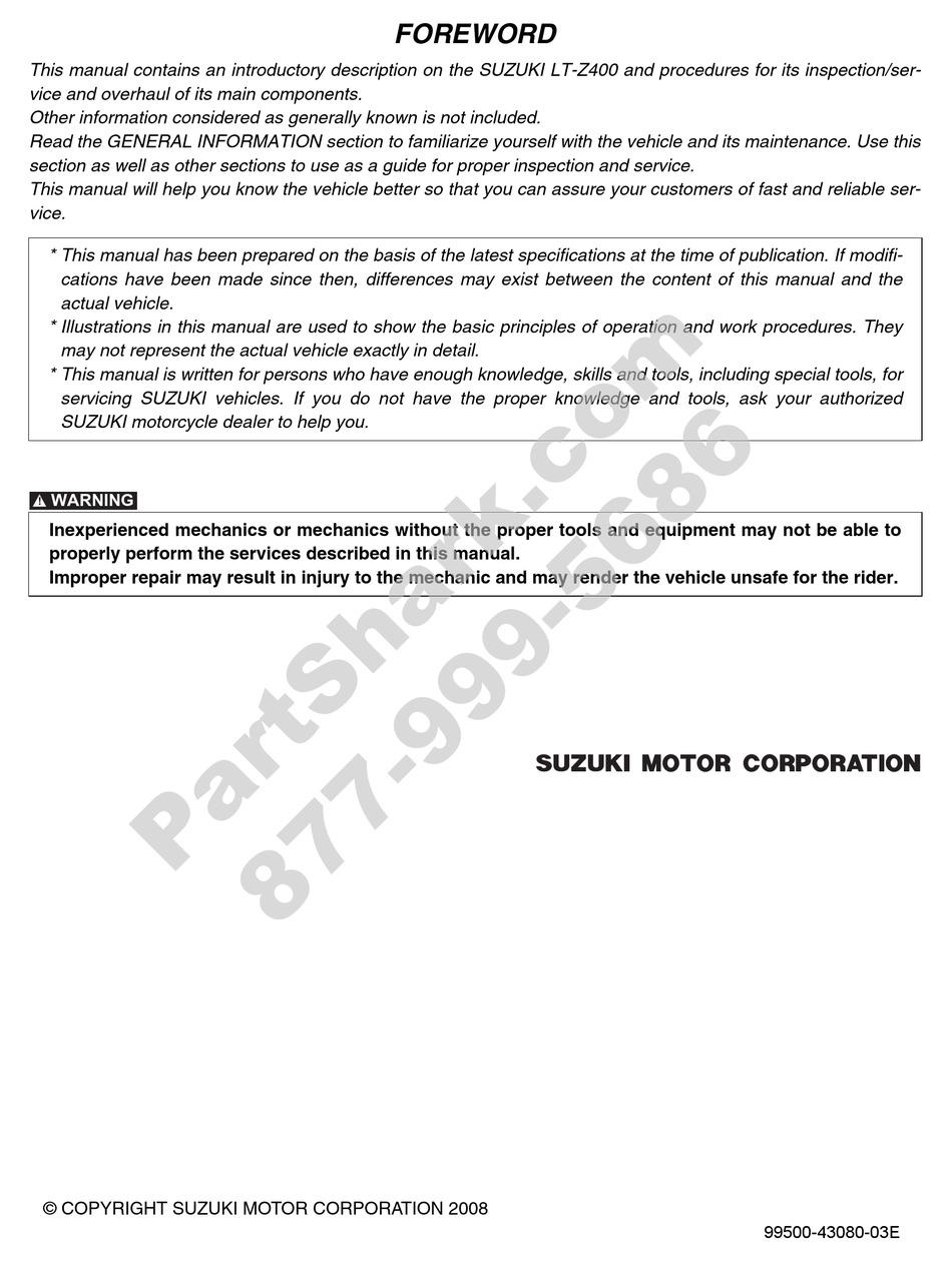 Suzuki Ltz 400 Service Manual Pdf Download Manualslib