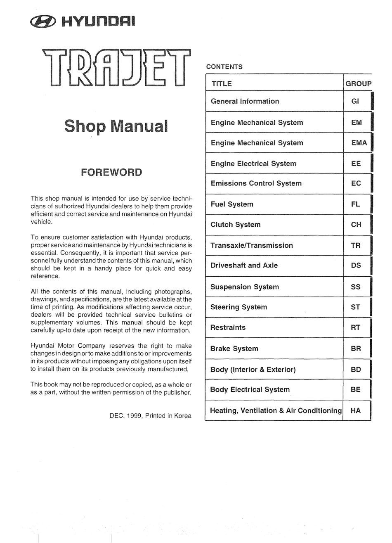 Hyundai Trajet Shop Manual Pdf Download Manualslib