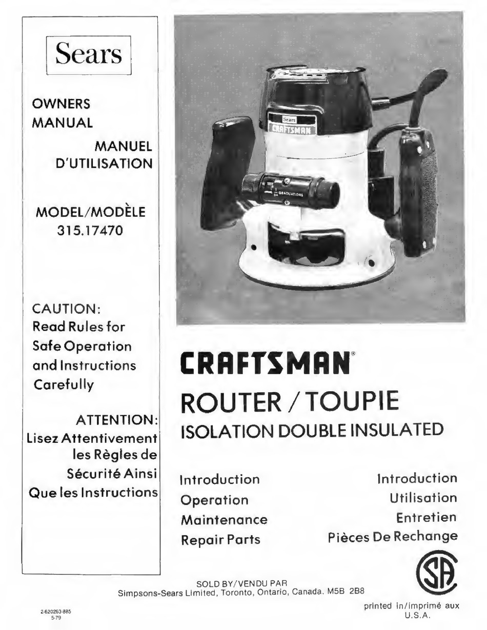 Craftsman Sears 315 17470 Manual Pdf Download Manualslib