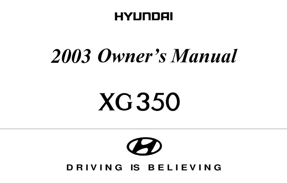 Hyundai Xg350 2003 Owner S Manual Pdf Download Manualslib