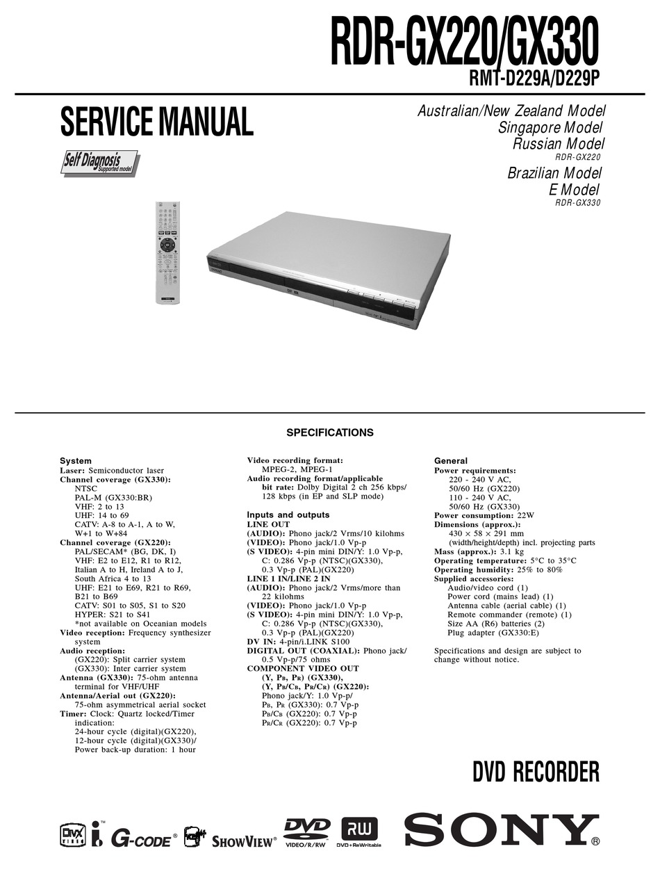 Sony Rdr Gx330 Service Manual Pdf Download Manualslib