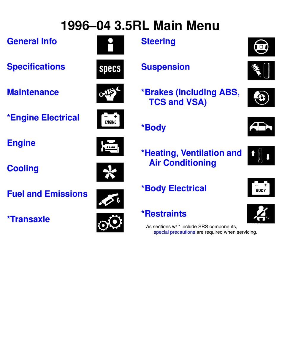 Acura 3 5 Rl Manual Pdf Download Manualslib