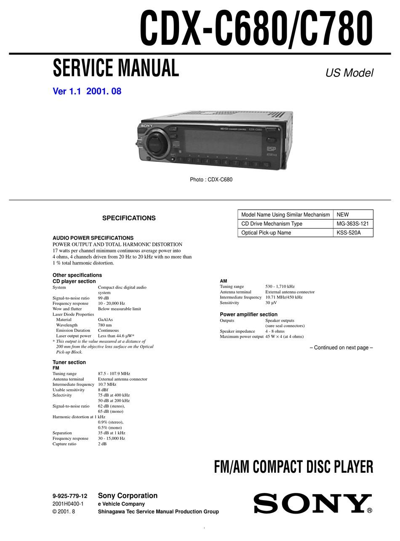 Sony Cdx C680 Service Manual Pdf
