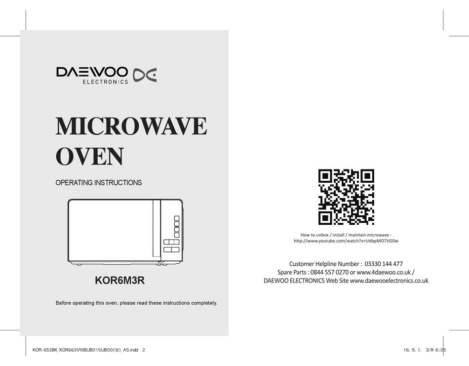 Daewoo Kor6m3r Operating Instructions