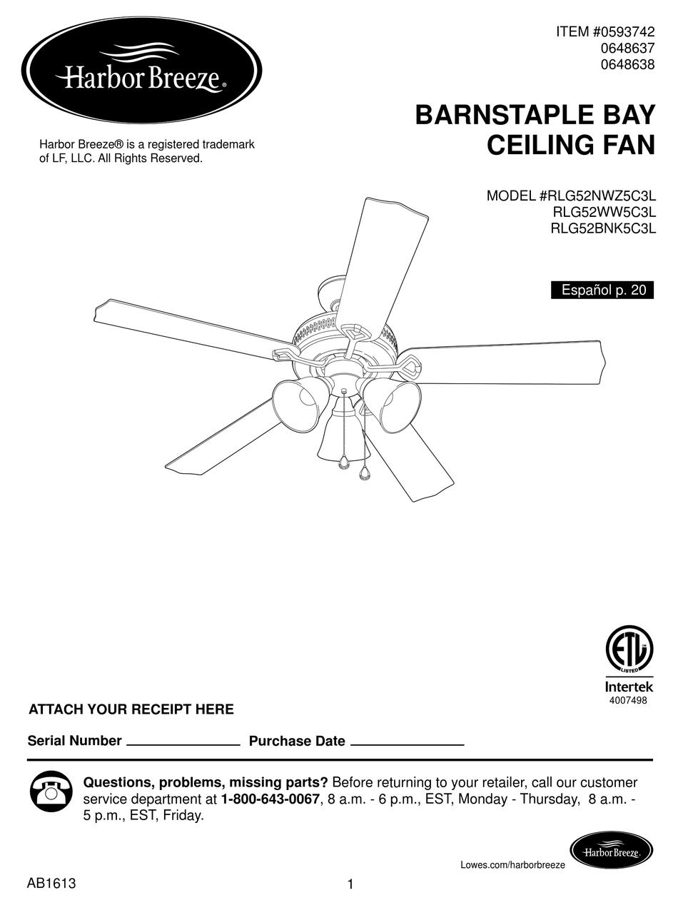 Harbor Breeze Rlg52nwz5c3l Install Manual Pdf Download Manualslib