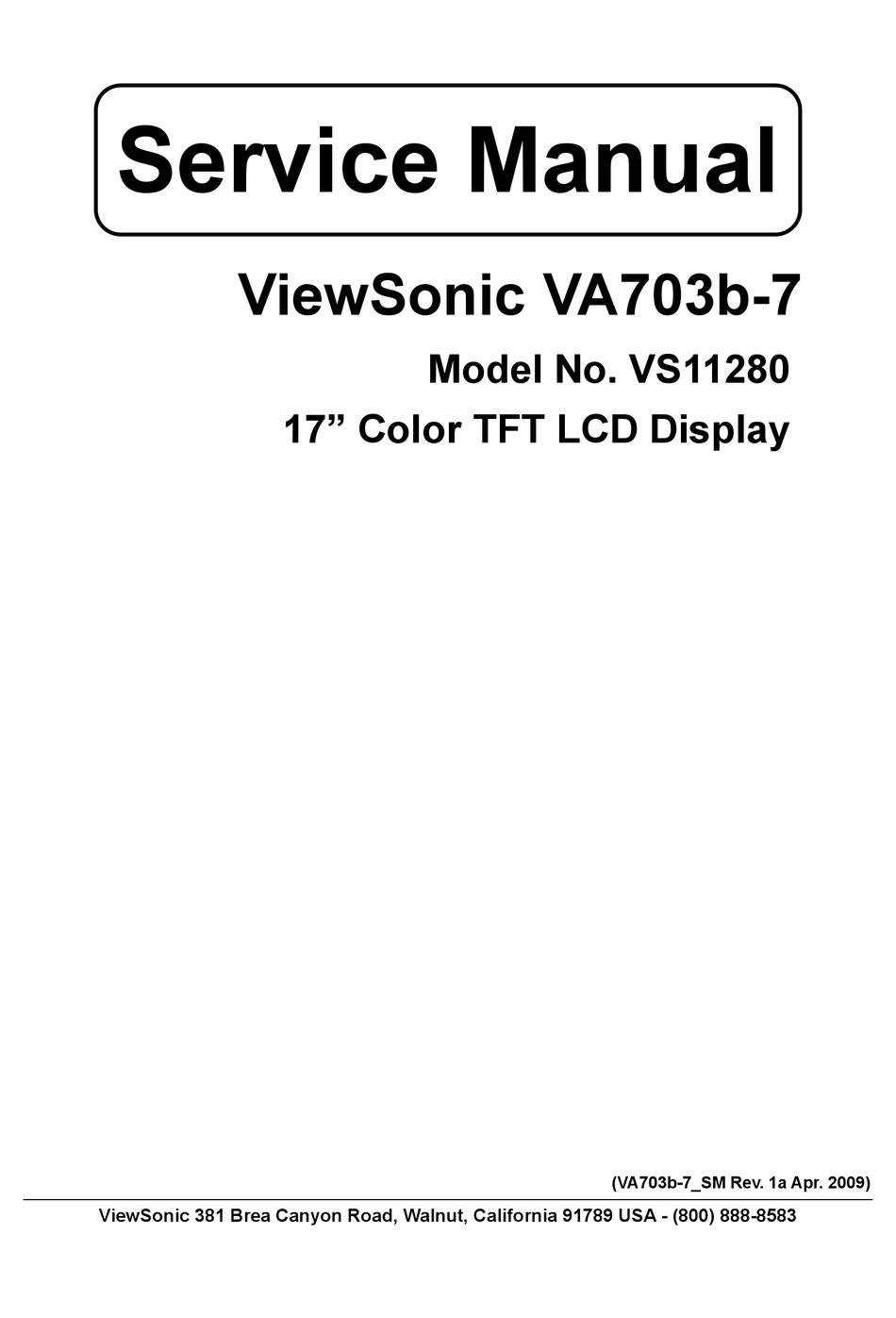 Viewsonic Vs11280 Service Manual Pdf Download Manualslib