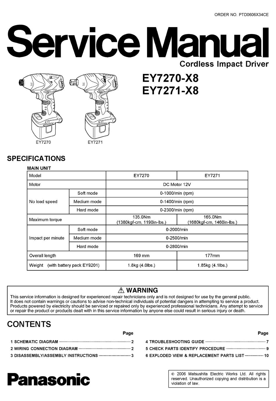 PANASONIC EY7270-X8 SERVICE MANUAL Pdf Download   ManualsLib   X8 Motor Wiring Diagram      ManualsLib