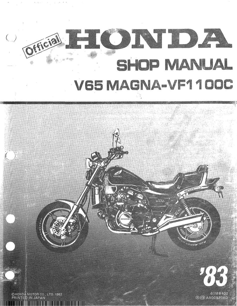 Honda V65 Magna Shop Manual Pdf Download Manualslib