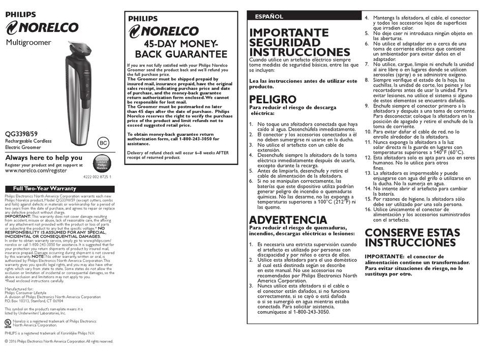 PHILIPS NORELCO QG3398/59 USER MANUAL Pdf Download ...