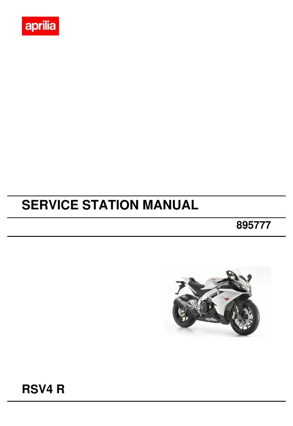 Aprilia Rsv4 R Service Station Manual Pdf Download Manualslib