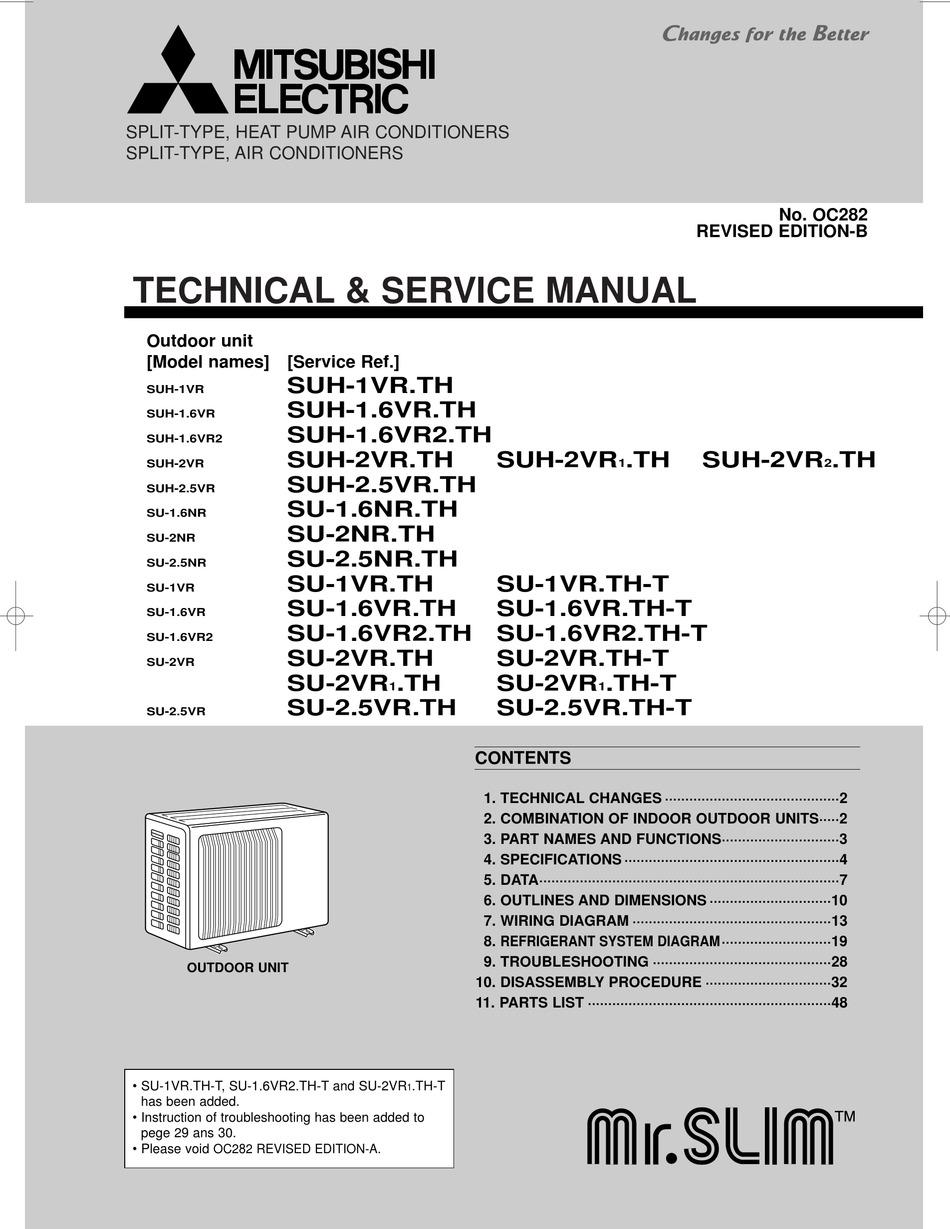 mitsubishi electric suh-1.6vr2 technical & service manual pdf download    manualslib  manualslib