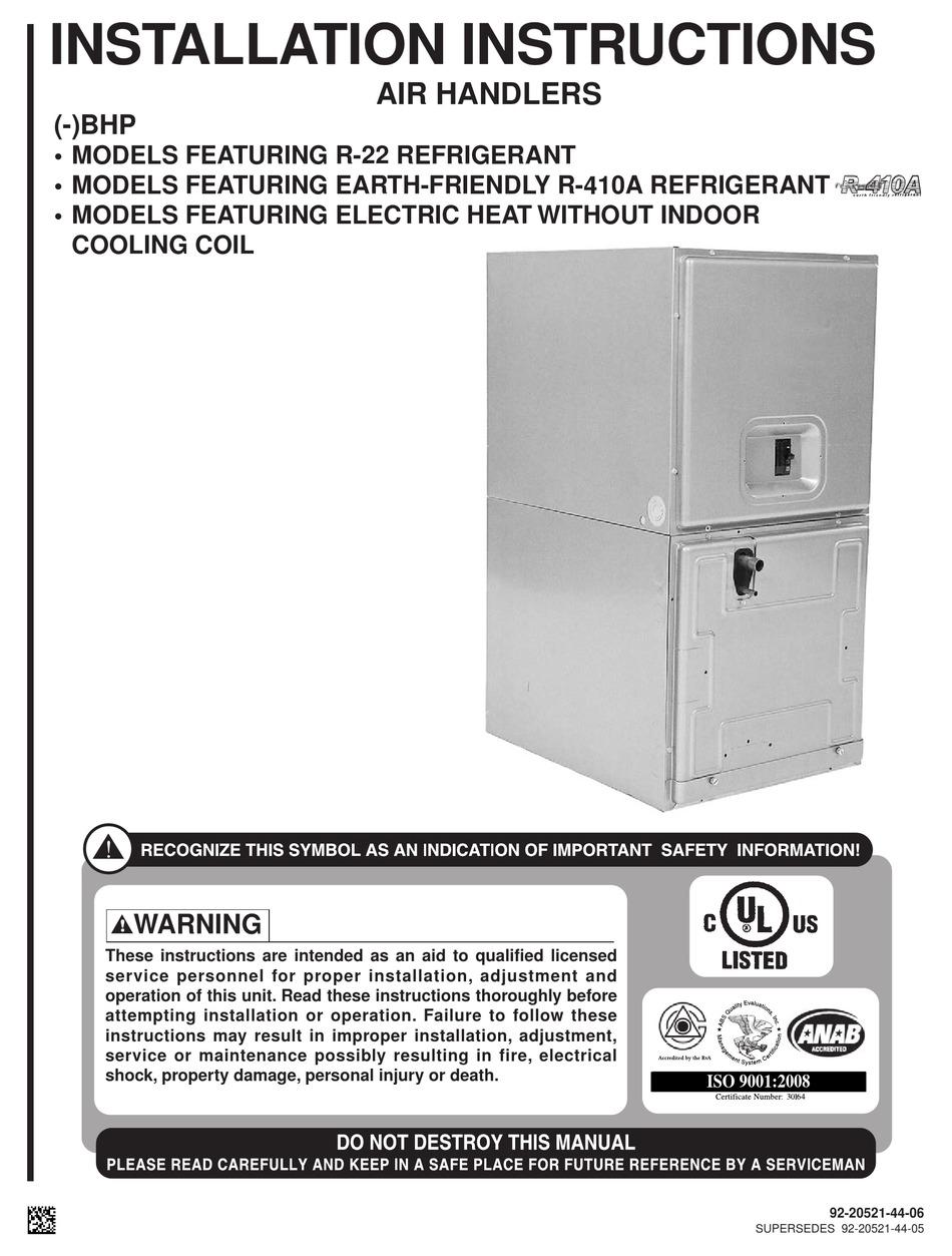 Rheem Rbhp 17a00nh1 Installation Instructions Manual Pdf Download Manualslib