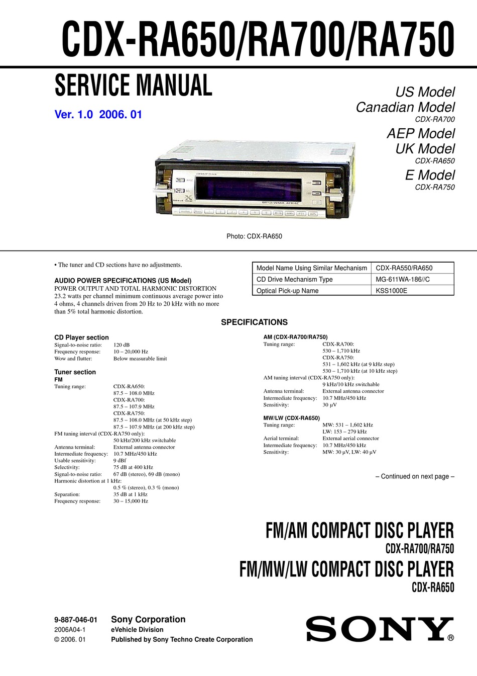 Sony Cdx Ra700 Service Manual Pdf