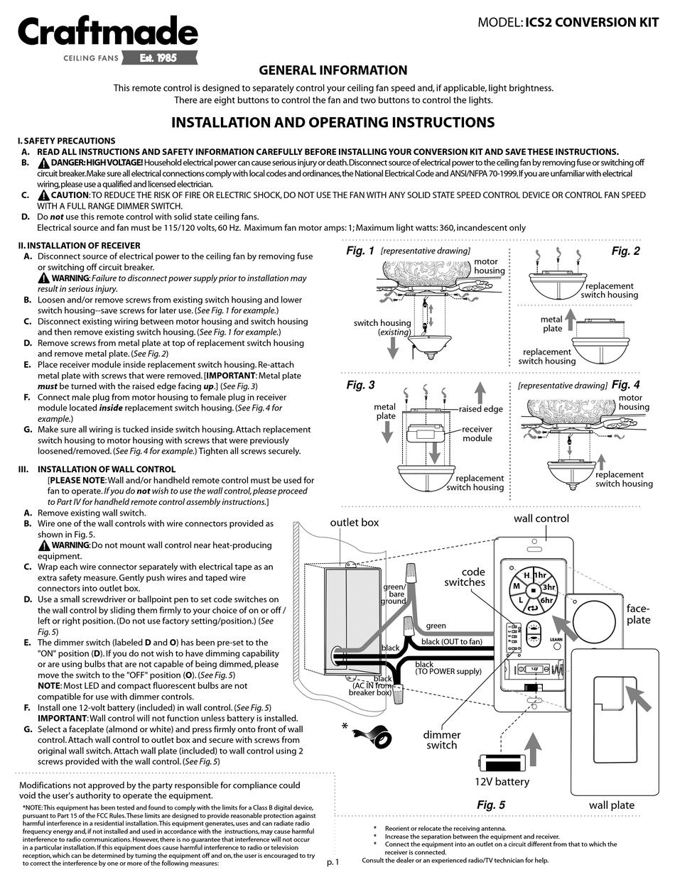 Craftmade Ics2 Conversion Kit Installation And Operating Instructions Pdf Download Manualslib