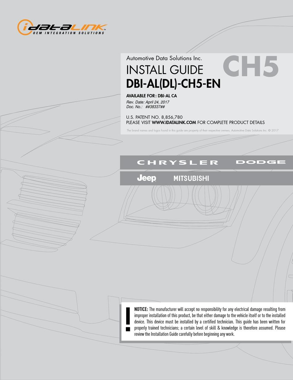 IDATALINK DBI ALDL CH40 EN INSTALL MANUAL Pdf Download   ManualsLib