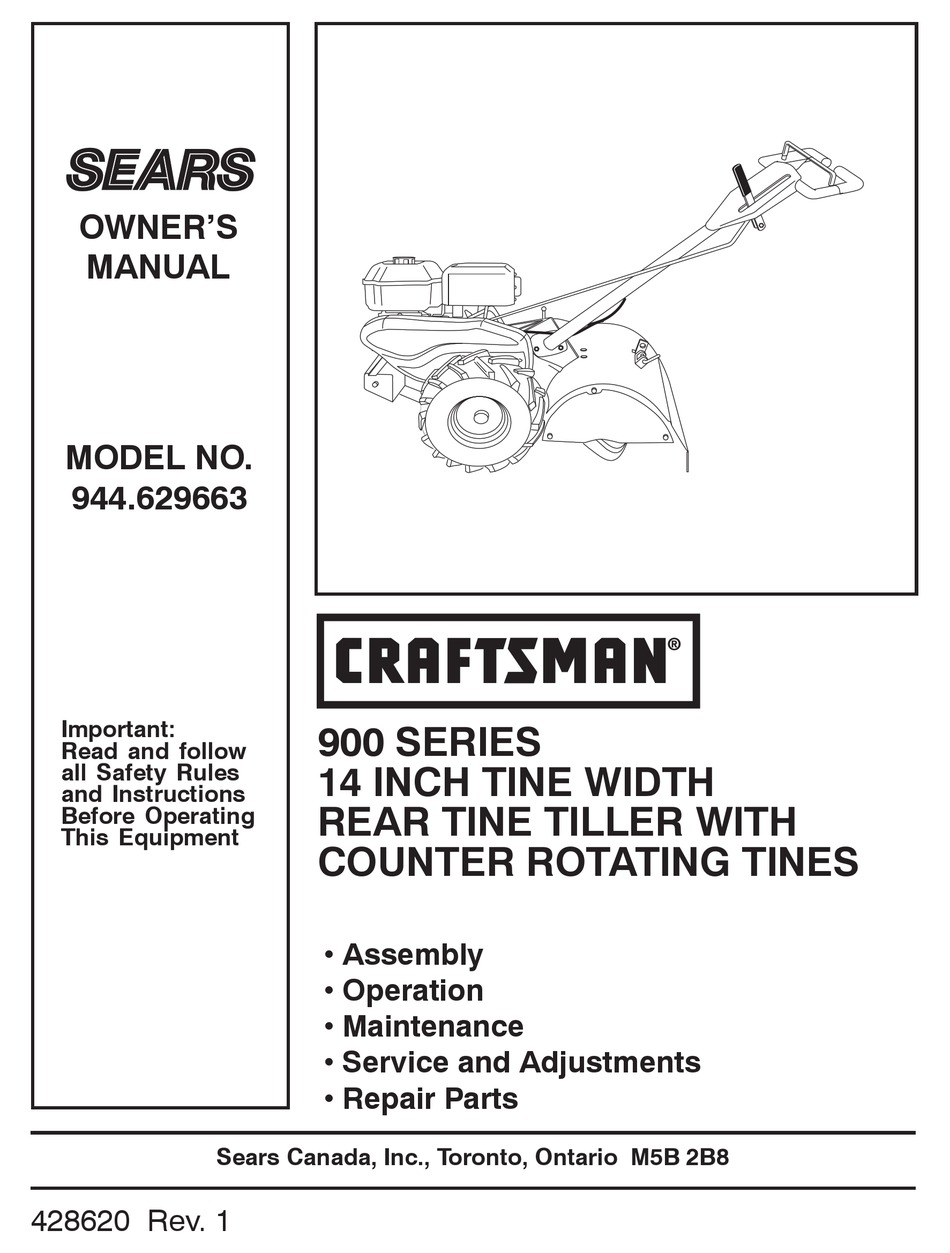 Craftsman 944 629663 Owner S Manual Pdf Download Manualslib