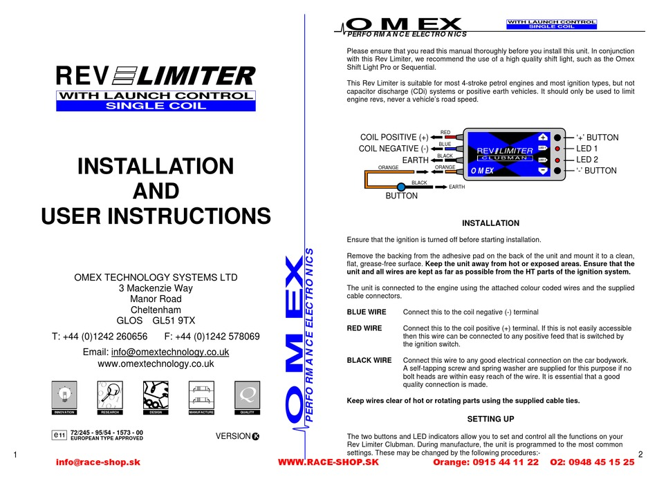 Omex Rev Limiter Twin Coil Installation