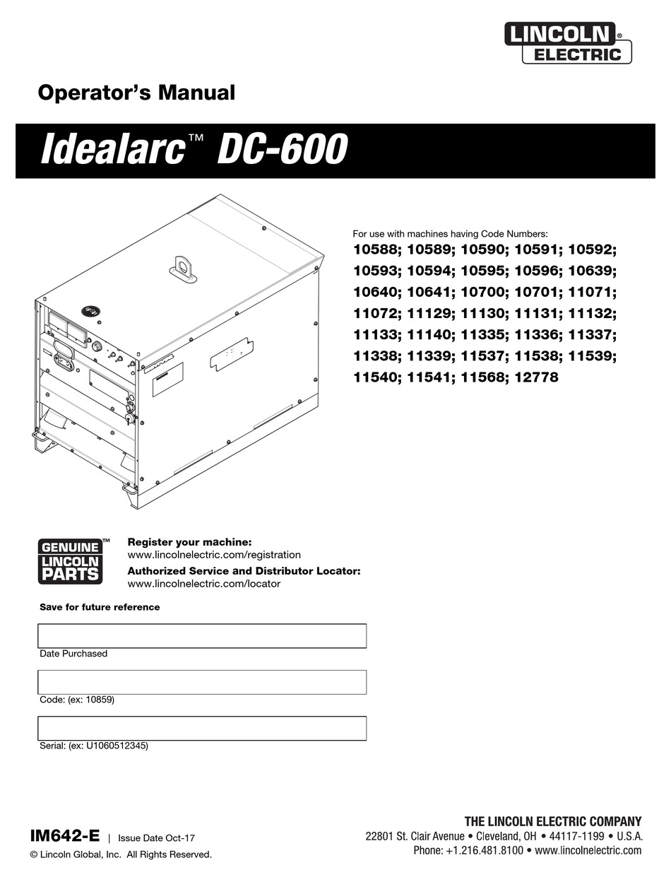 lincoln electric idealarc dc-600 operator's manual pdf download   manualslib  manualslib