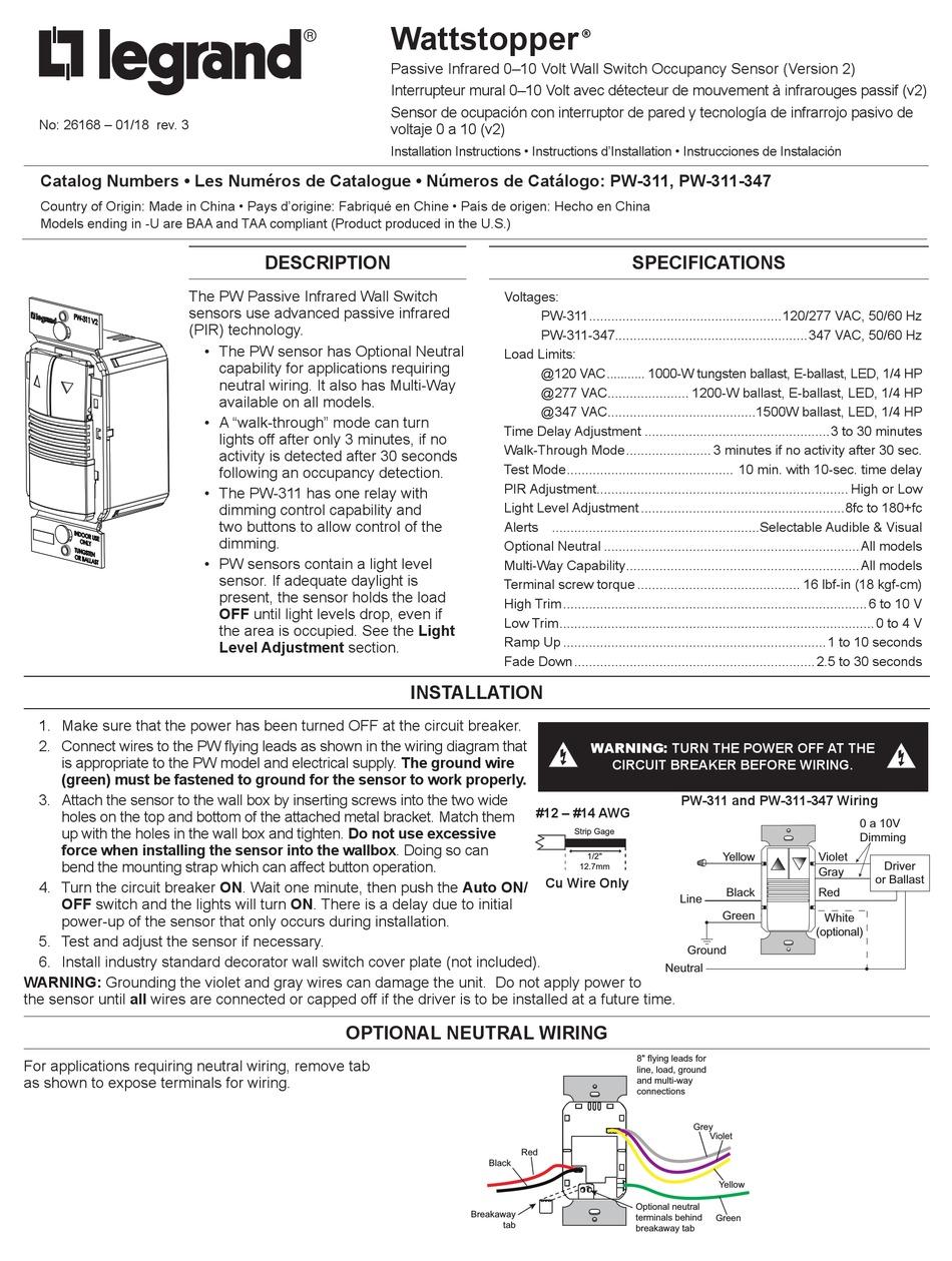 LEGRAND WATTSTOPPER PW-311 INSTALLATION INSTRUCTIONS MANUAL Pdf Download    ManualsLibManualsLib