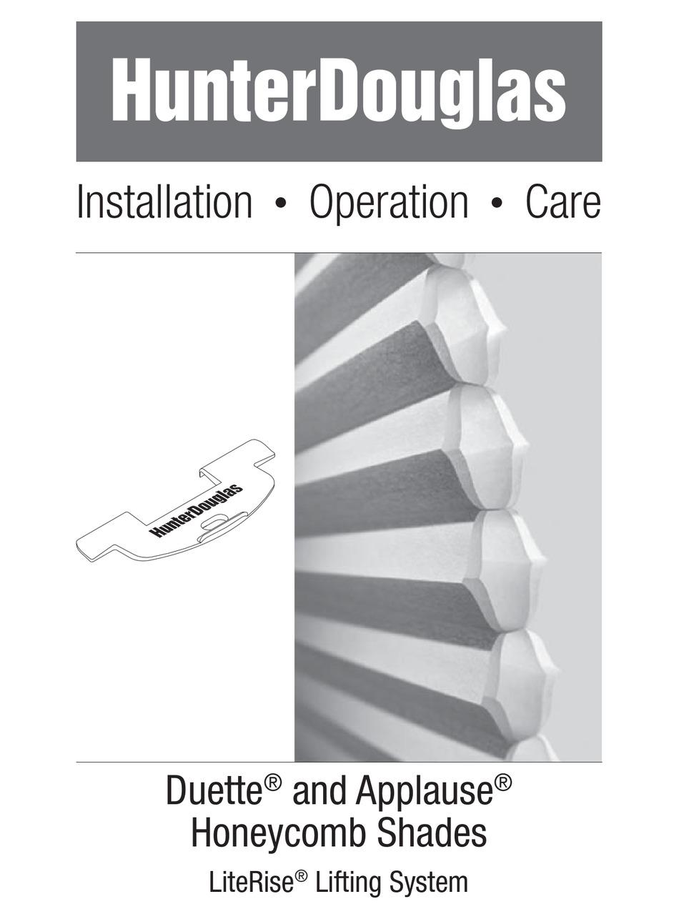 Hunter Douglas Duette Installation Operation Care Pdf Download Manualslib