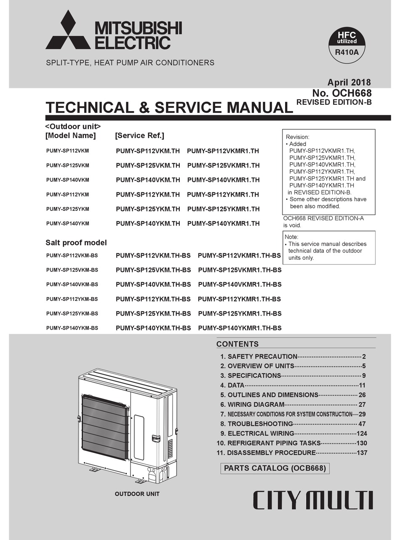 Mitsubishi Electric City Multi Pumy Sp112vkm Technical Service Manual Pdf Download Manualslib
