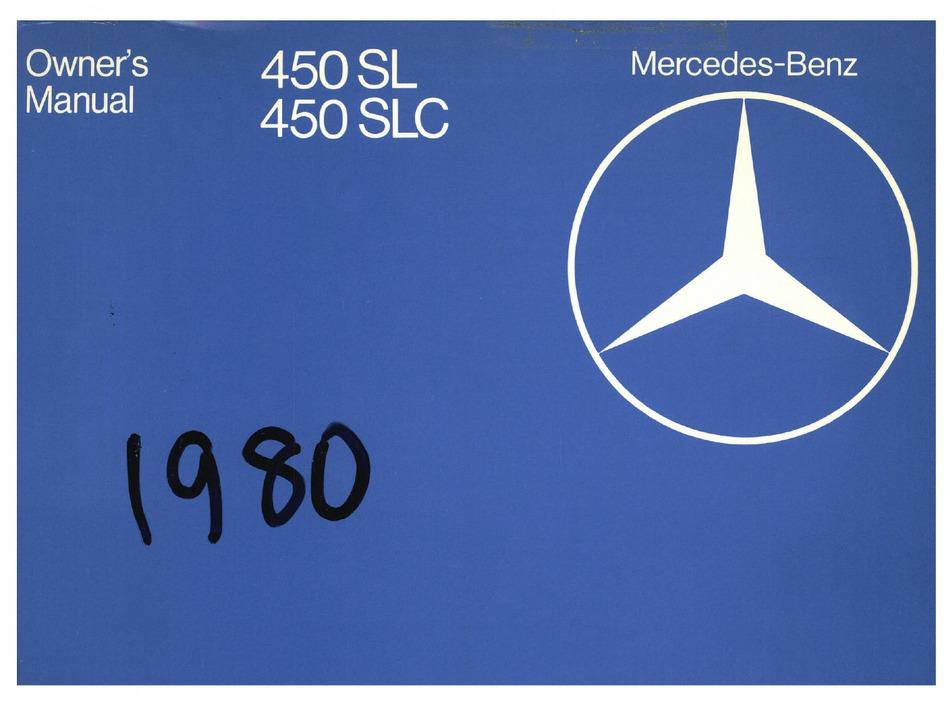Mercedes Benz 450 Sl 1980 Owner S Manual Pdf Download Manualslib