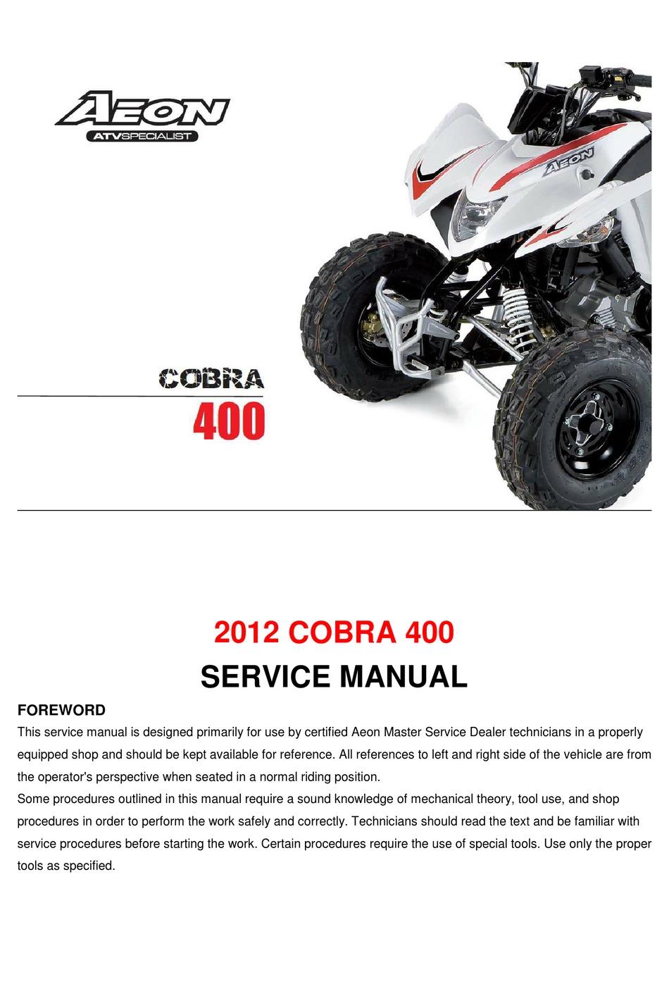 AEON COBRA 400 2012 SERVICE MANUAL Pdf Download   ManualsLib   Aeon Atv Wiring Schematics      ManualsLib