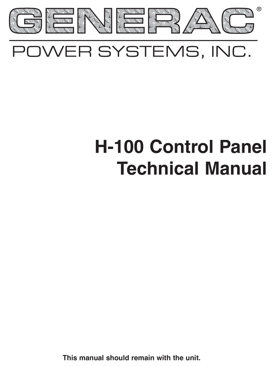 GENERAC POWER SYSTEMS H-100 TECHNICAL MANUAL Pdf Download | ManualsLibManualsLib