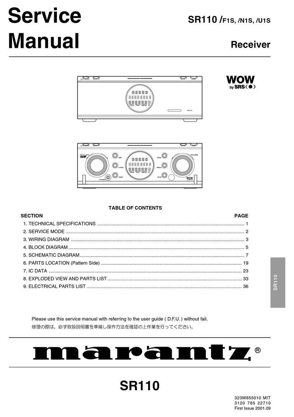 Marantz Sr110 F1s Service Manual Pdf Download Manualslib