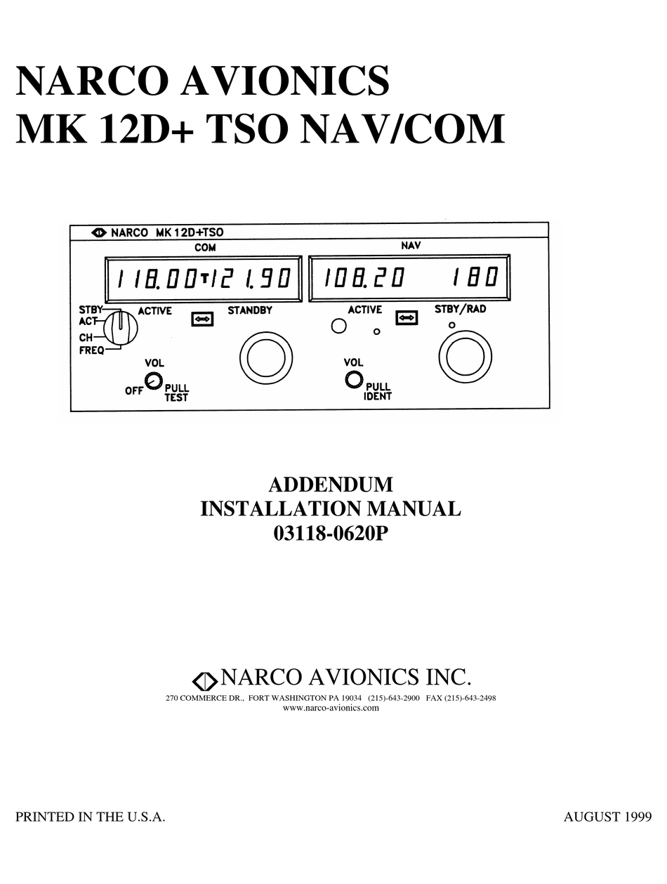 Narco Avionics Mk 12d Plus Tso Nav Com