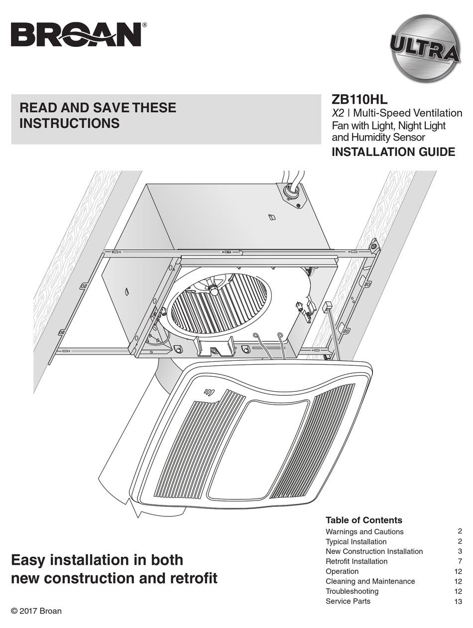 BROAN ZB110HL INSTALLATION MANUAL Pdf Download | ManualsLibManualsLib