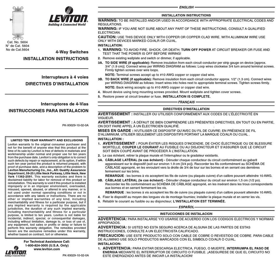 Switch 4 wiring 🏆 diagram way leviton Leviton Switch