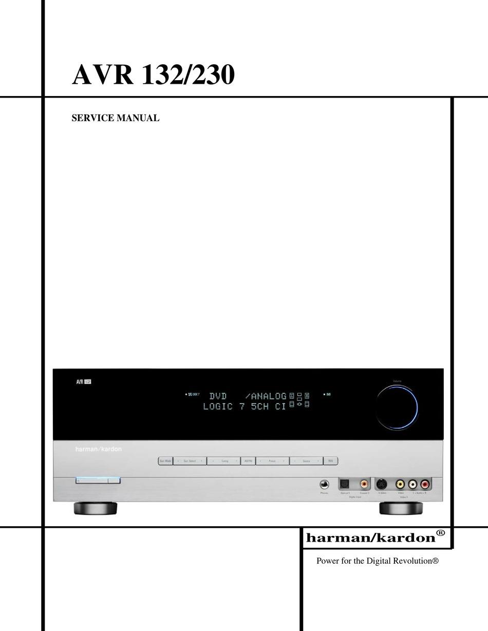 Harman Kardon Avr 132 Service Manual Pdf Download Manualslib