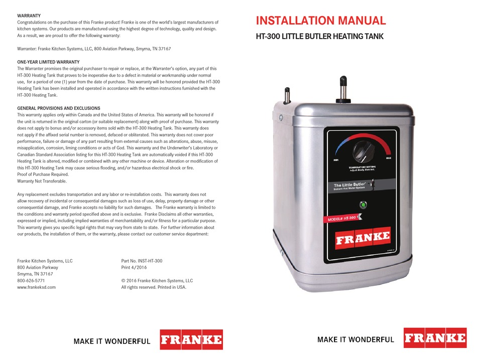 FRANKE HT-300 INSTALLATION MANUAL Pdf Download | ManualsLib