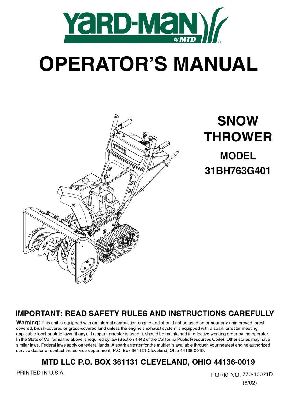 Yard Man 31bh763g401 Operator S Manual Pdf Download Manualslib