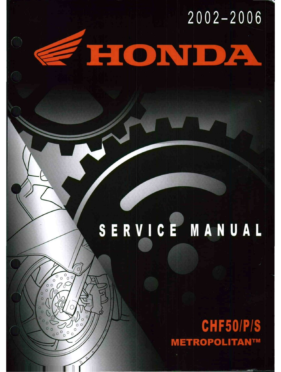 Honda Metropolitan Chf50 Service Manual Pdf Download Manualslib