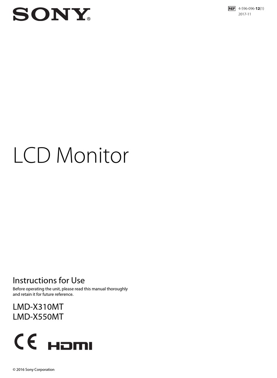 Sony Lmd X310mt Instructions For Use Manual Pdf Download Manualslib