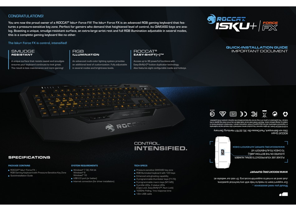 Roccat Isku Plus Force Fx Quick Installation Manual Pdf