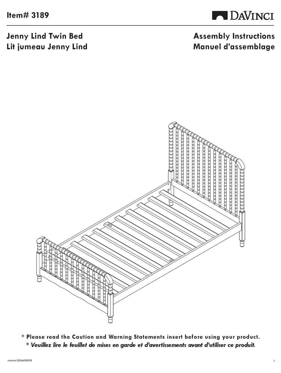 Davinci Jenny Lind Twin Bed Assembly Instructions Manual Pdf Download Manualslib
