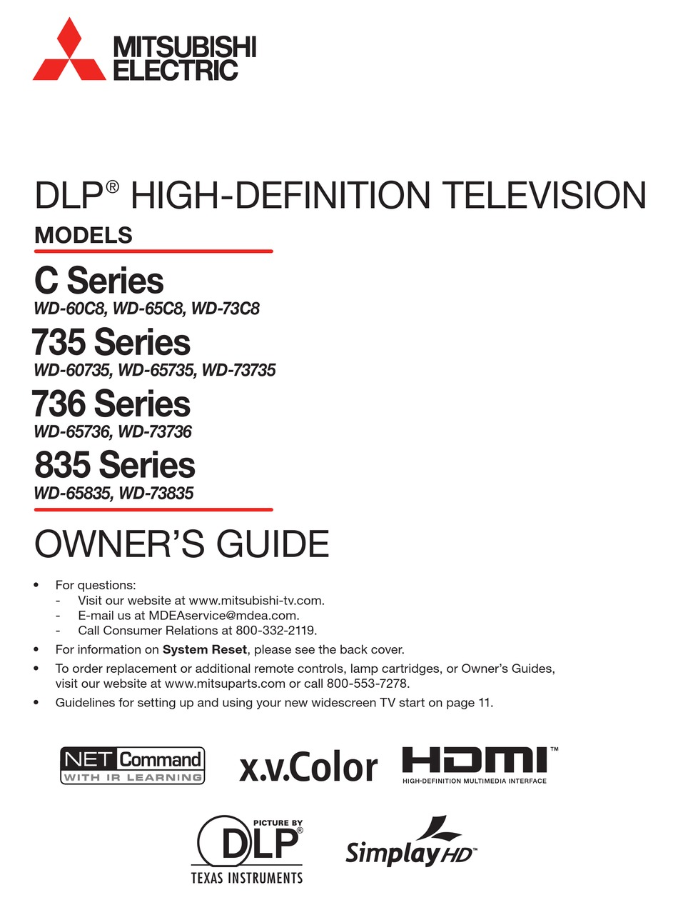 Mitsubishi Wd 60c8 Owner S Manual Pdf Download Manualslib