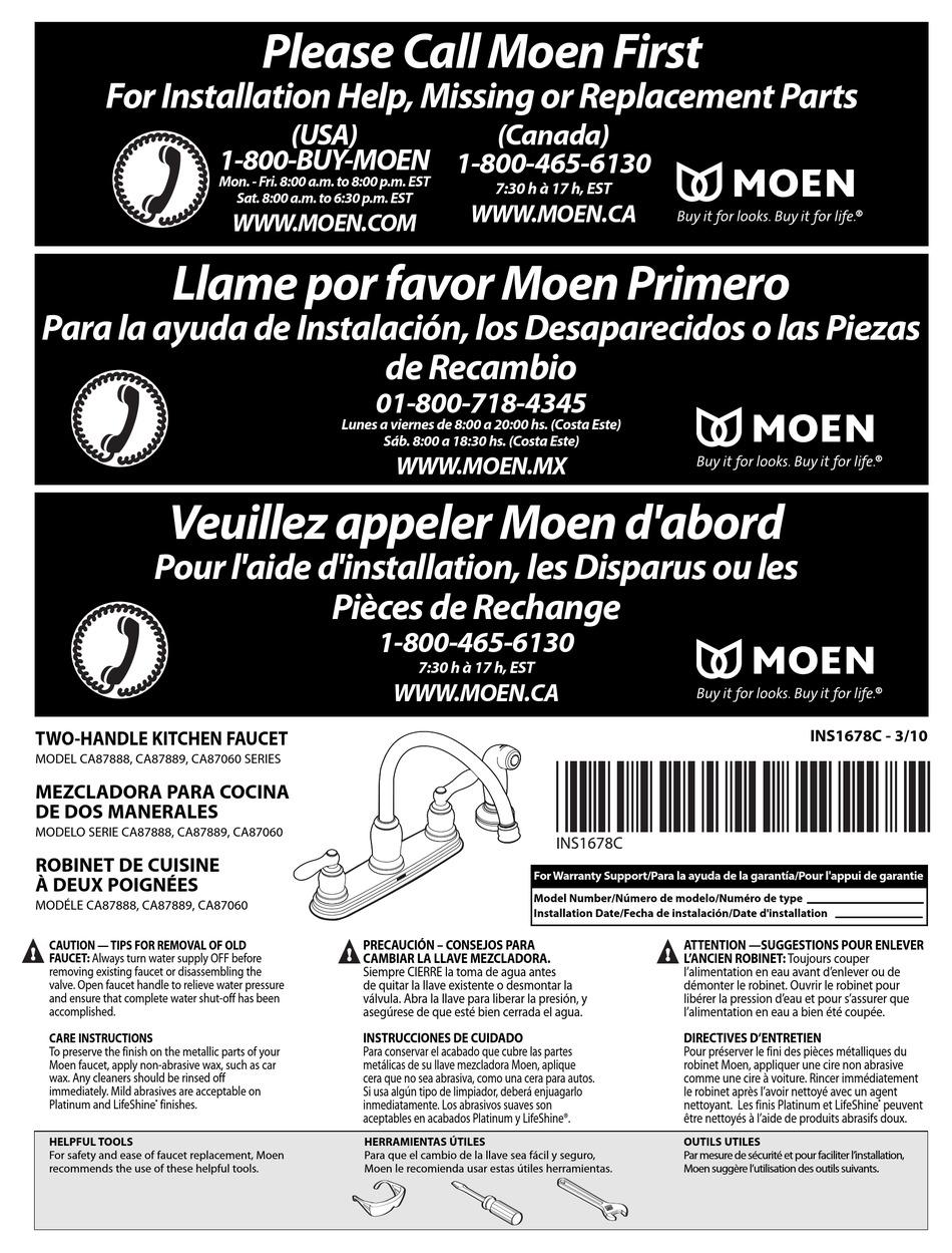 Moen Ca87060 Series User Manual Pdf Download Manualslib