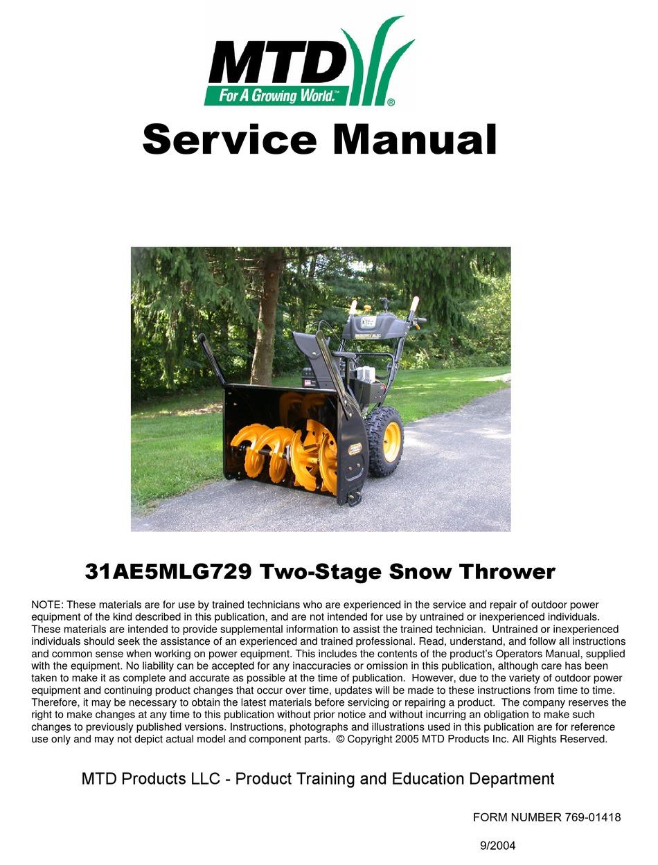 MTD 31AE5MLG729 SERVICE MANUAL Pdf Download | ManualsLib