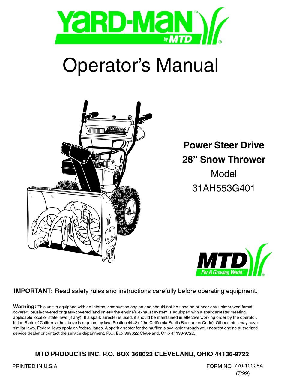 Yard Man 31ah553g401 Operator S Manual Pdf Download Manualslib
