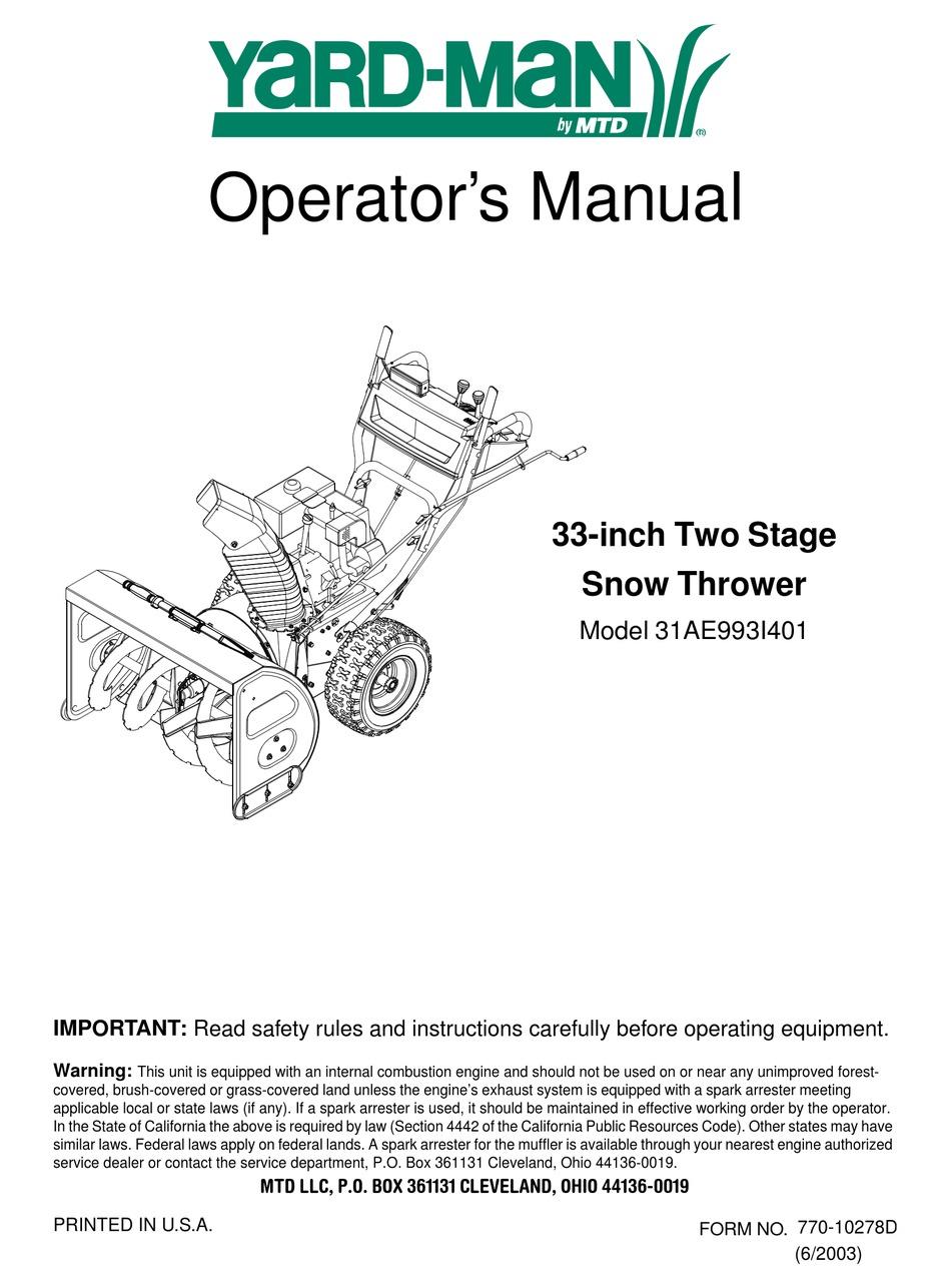 Yard Man 31ae993i401 Operator S Manual Pdf Download Manualslib