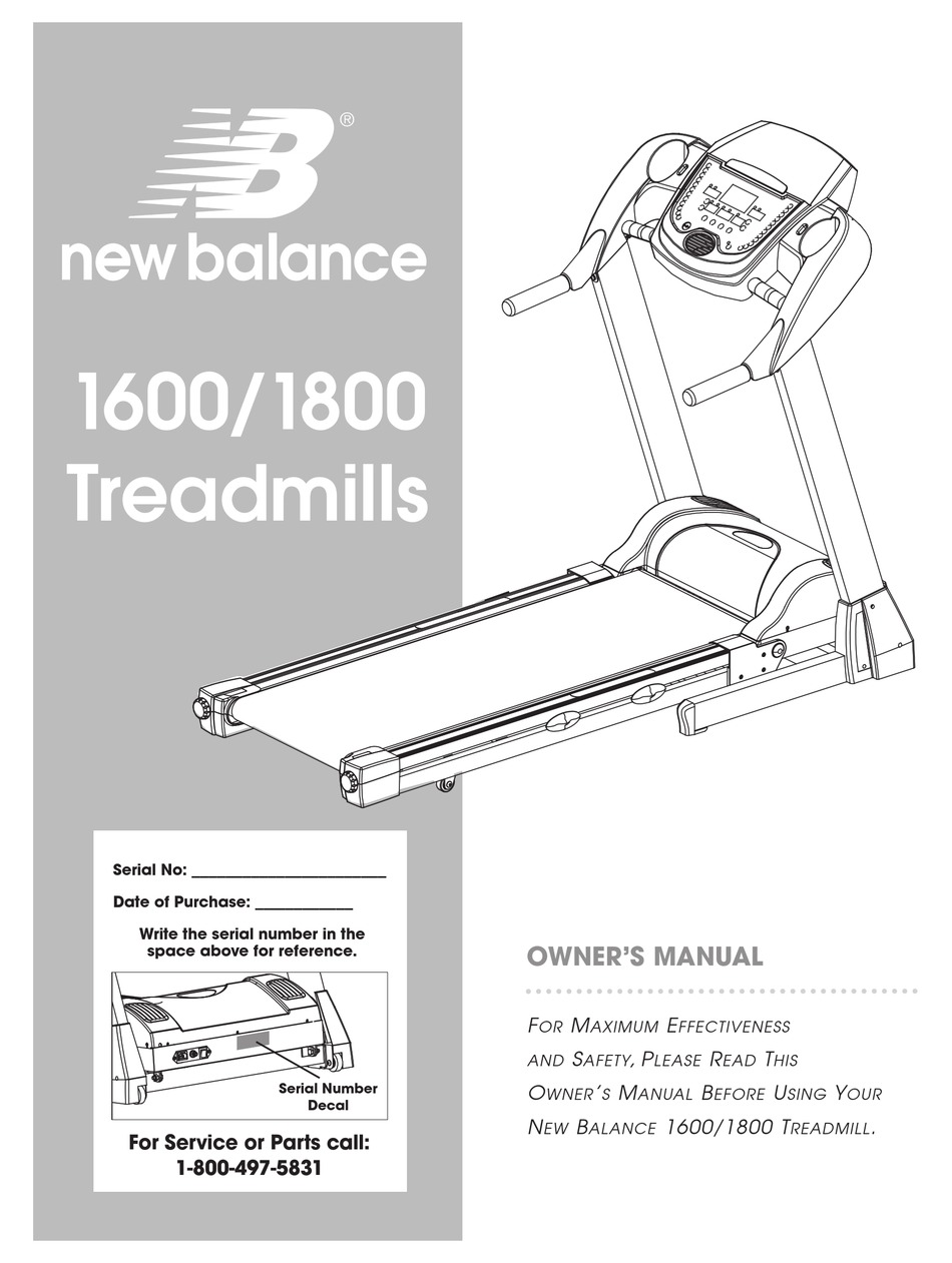 NEW BALANCE 1600 OWNER'S MANUAL Pdf Download | ManualsLib