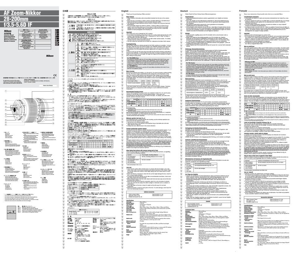 Manual de instrucciones Nikon Nikkor 28mm 2.8 instructions