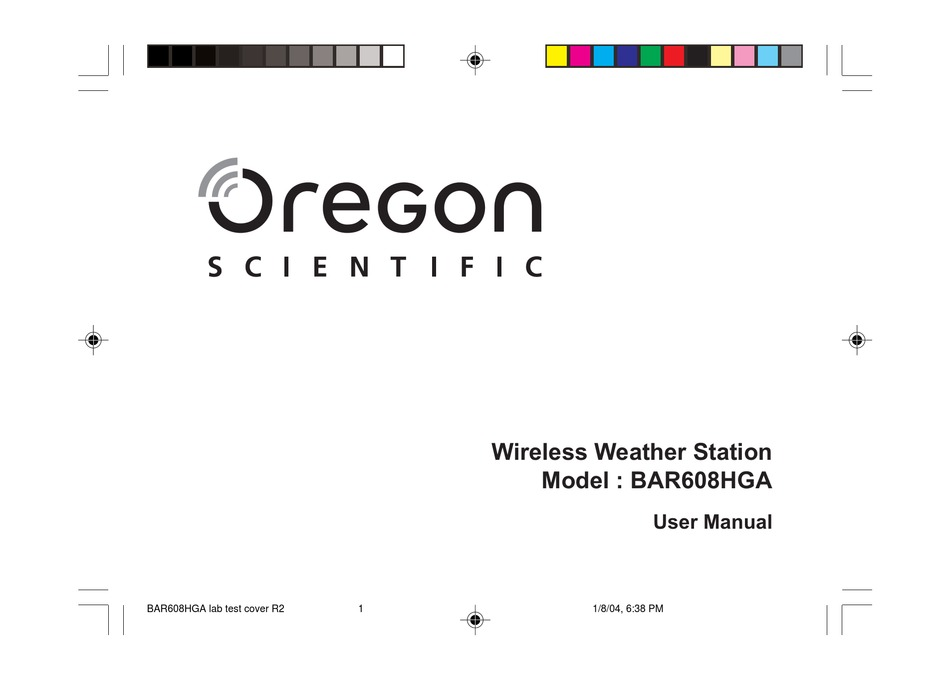 Oregon Scientific Wireless Weather Station Bar608hga User Manual Pdf Download Manualslib