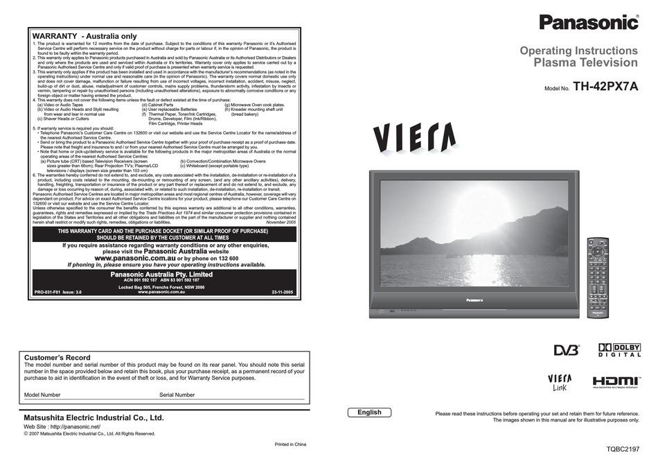 PANASONIC VIERA TH-42PX7A OPERATING INSTRUCTIONS MANUAL ...